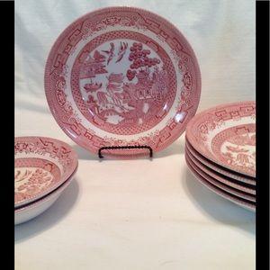 """Pink Willow Churchill China 2 6"""" bowls 6, 8"""" bowls"""